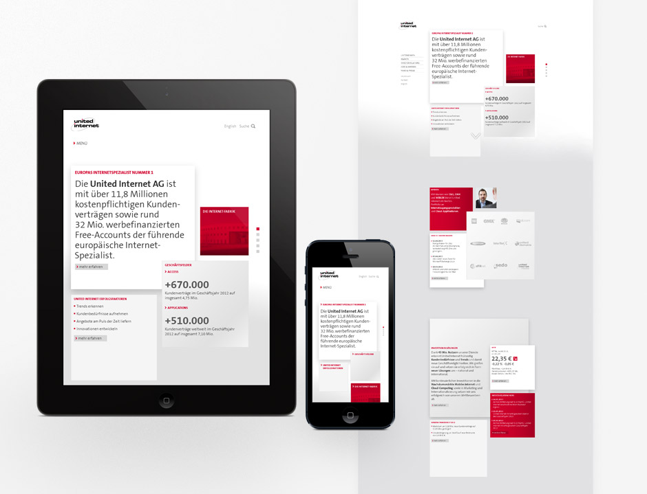 Starting page, responsive layout, thematical content clusters